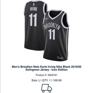 Brooklyn Nets Kyrie Irving Nike Black 18/19 Jersey